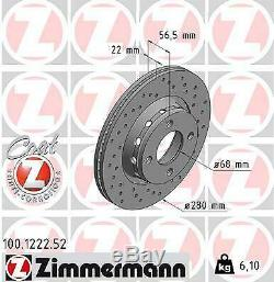 2x Zimmermann Brake Disc Audi 80 8c B4 Cabriolet 8g7 B4 80 Avant 8c B4