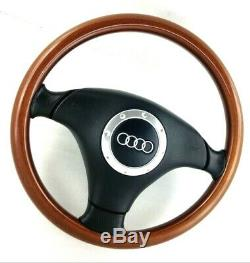 Genuine Audi Nardi Wood And Leather Steering Wheel 80 A4 A3 Vw Golf Mk3 Etc 16b