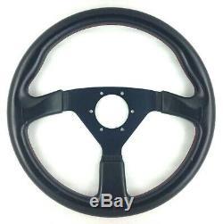 True Personal Nardi Neo Grinta Black Leather Steering Wheel 350mm Rare! 8d