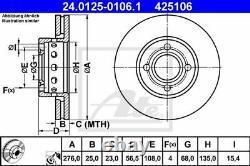 2x ATE Disque de frein VORNE pour AUDI 80 8C, B4 CABRIOLET 8G7, B4 COUPE 89, 8B