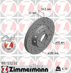 2x ZIMMERMANN Disque de frein AUDI 80 8C, B4 CABRIOLET 8G7, B4 80 Avant 8C, B4