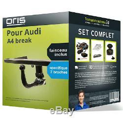 Attelage pour Audi A4 break 04-08 Amovible Oris + Faisceau spécifique 7 broches