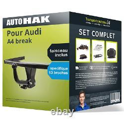 Attelage pour Audi A4 break 08- col de cygne Auto Hak + Faisceau spé. 13 broches